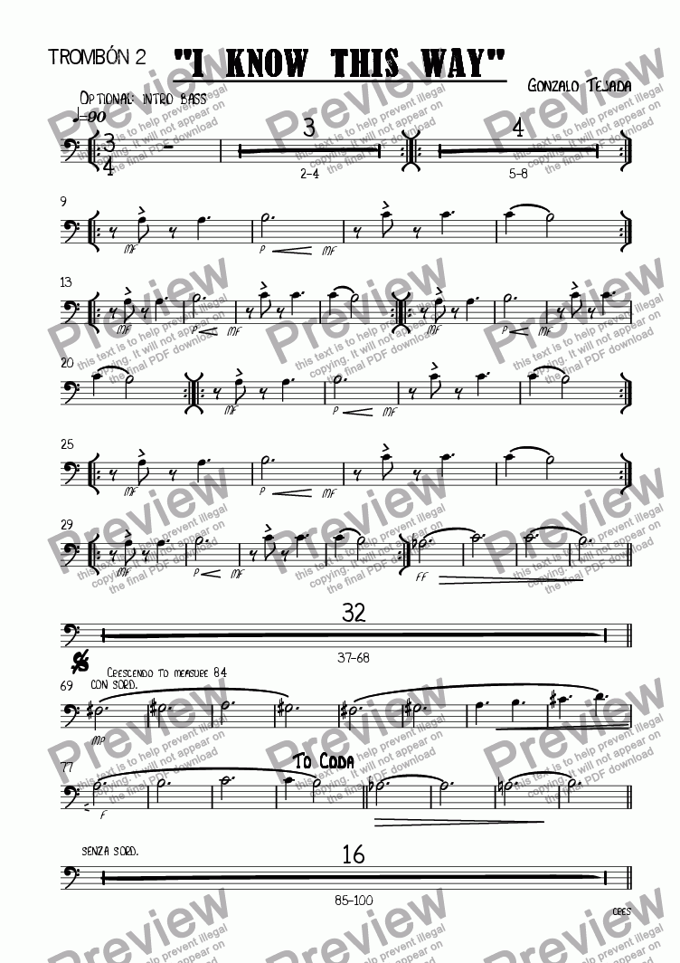 page one of the TROMBONE 2 part from I KNOW THIS WAY