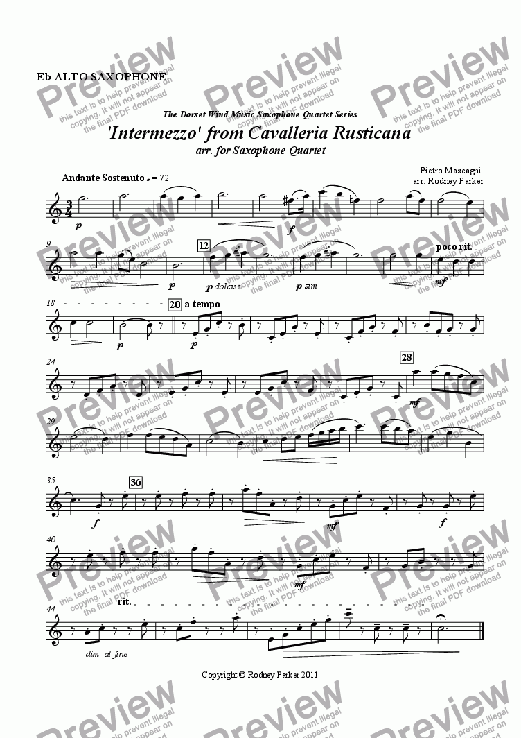page one of the Alto Sax part from 'Intermezzo' from Cavalleria Rusticana arr. for Saxophone Quartet