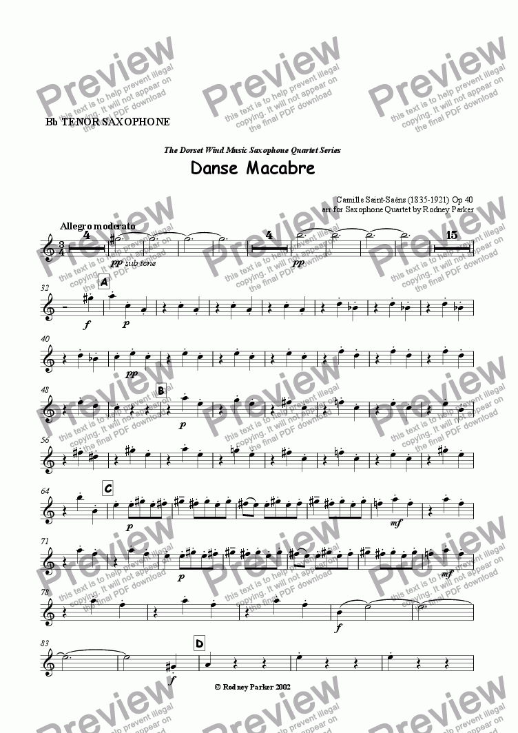 page one of the Tenor Sax part from Danse Macabre arr for Sax Quartet