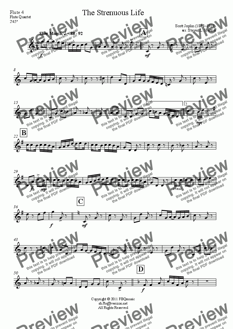 page one of the Flute 4 part from The Strenuous Life - Flute QUARTET