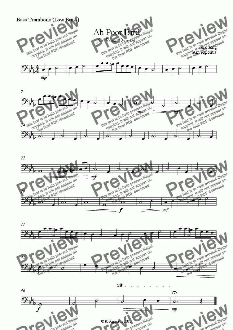 page one of the Low Brass part from Ah Poor Bird - for Brass Quartet