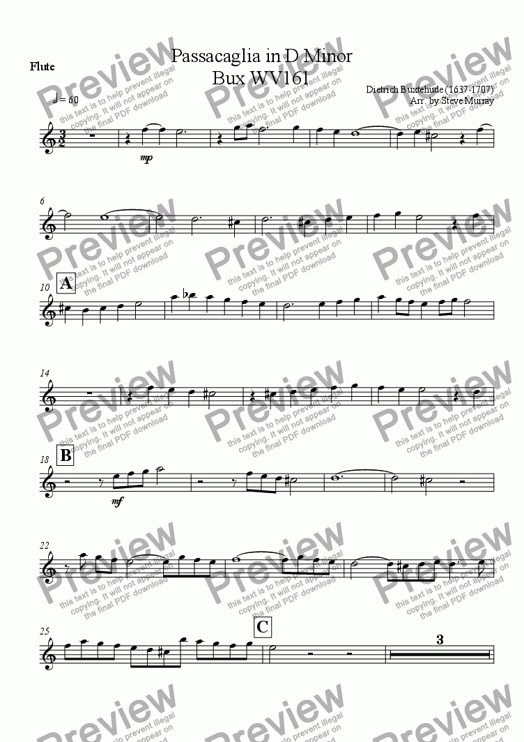 page one of the Flute part from Passacaglia in D Minor for Woodwind Quintet