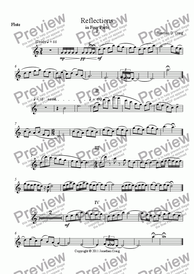 page one of the Flute part from Reflections