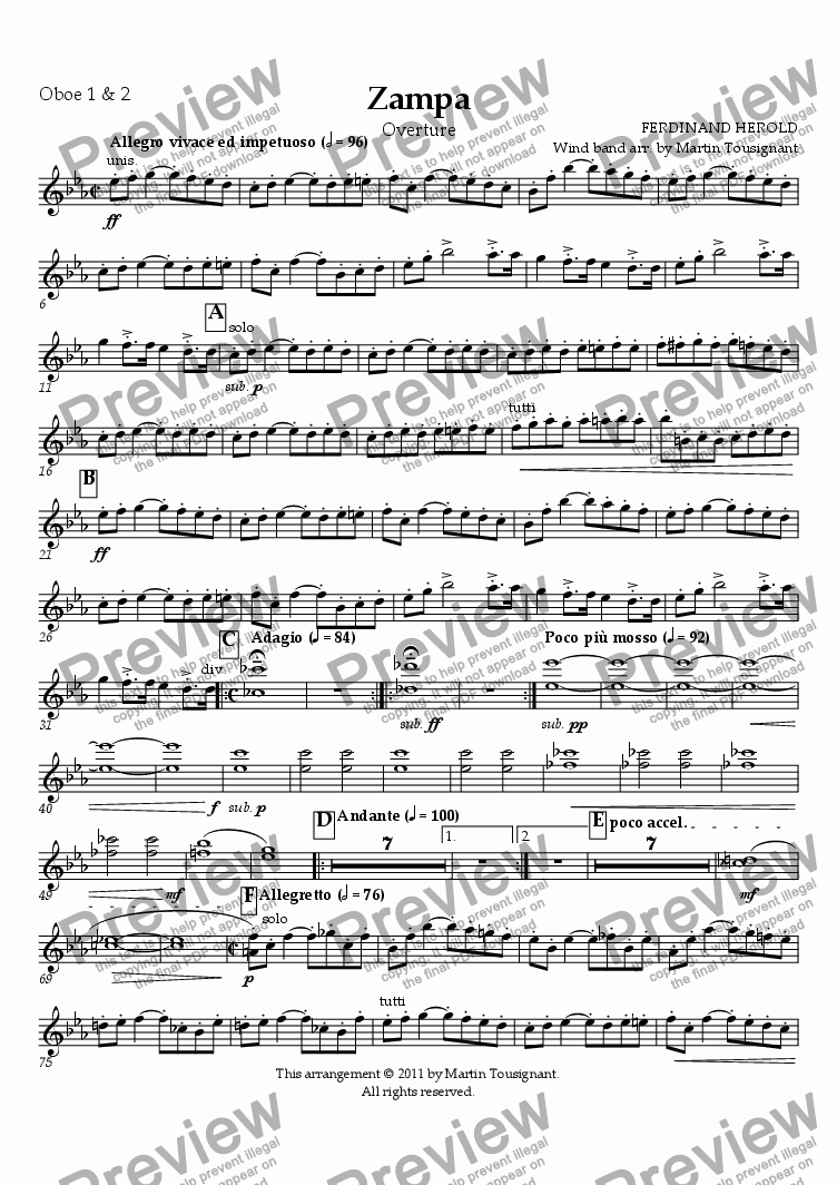 page one of the Oboe 1 & 2 part from Zampa Overture