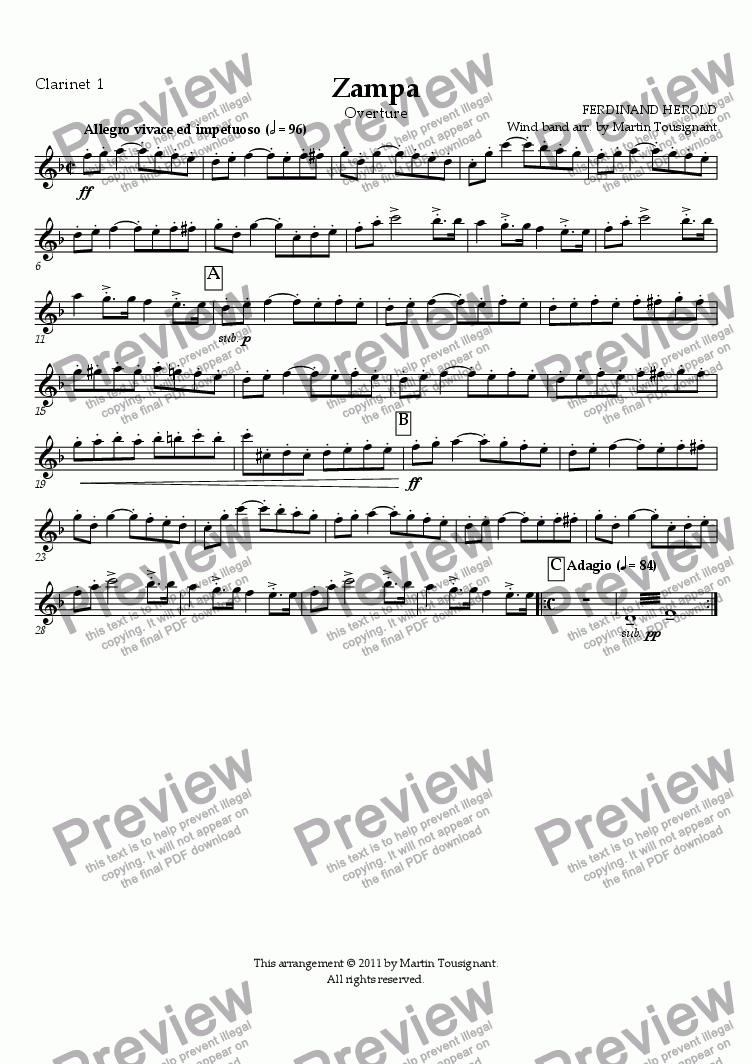 page one of the Clarinet 1 part from Zampa Overture