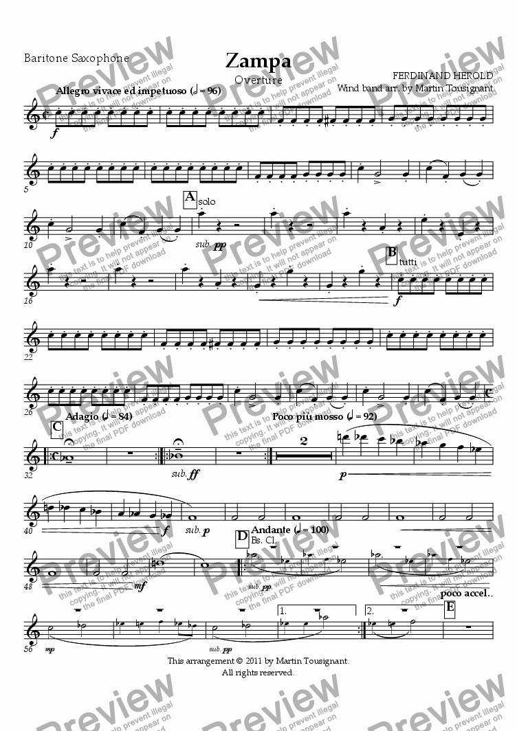 page one of the Baritone Saxophone part from Zampa Overture