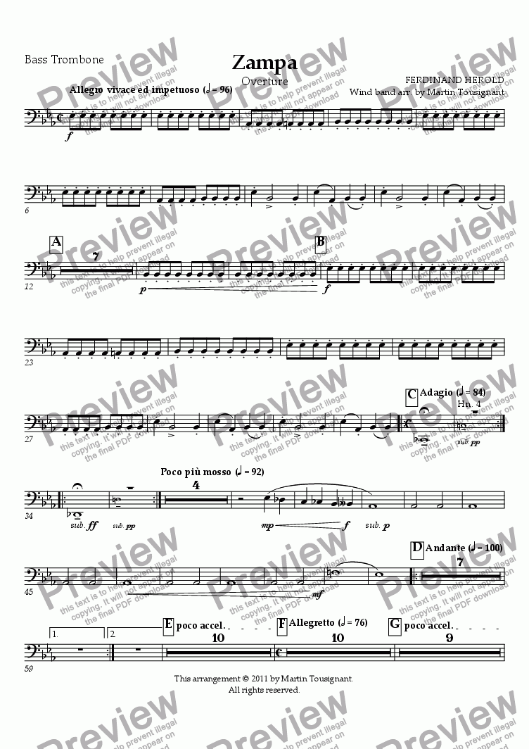page one of the Bass Trombone part from Zampa Overture