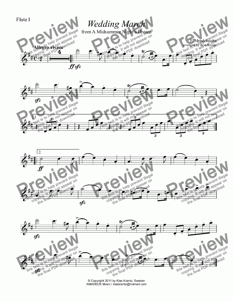 page one of the flute I part from Wedding March for flute quartet