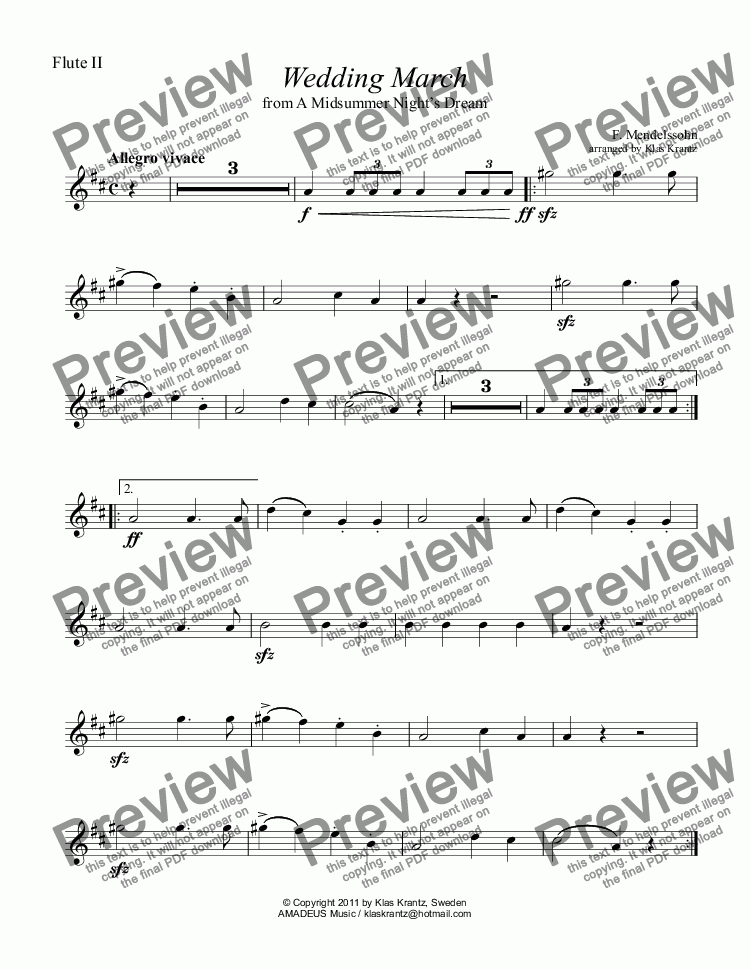 page one of the flute II part from Wedding March for flute quartet