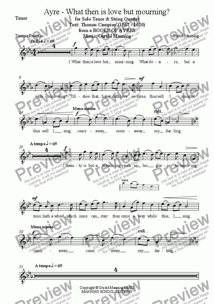 page one of the Tenor part from English Song: Manning Gerald - What Then is Love but Mourning? for Tenor & String Quartet