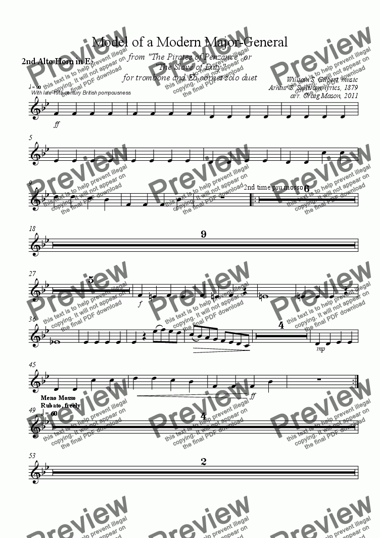 page one of the 2nd Alto Horn part from Model of a Modern Major General for Brass Band
