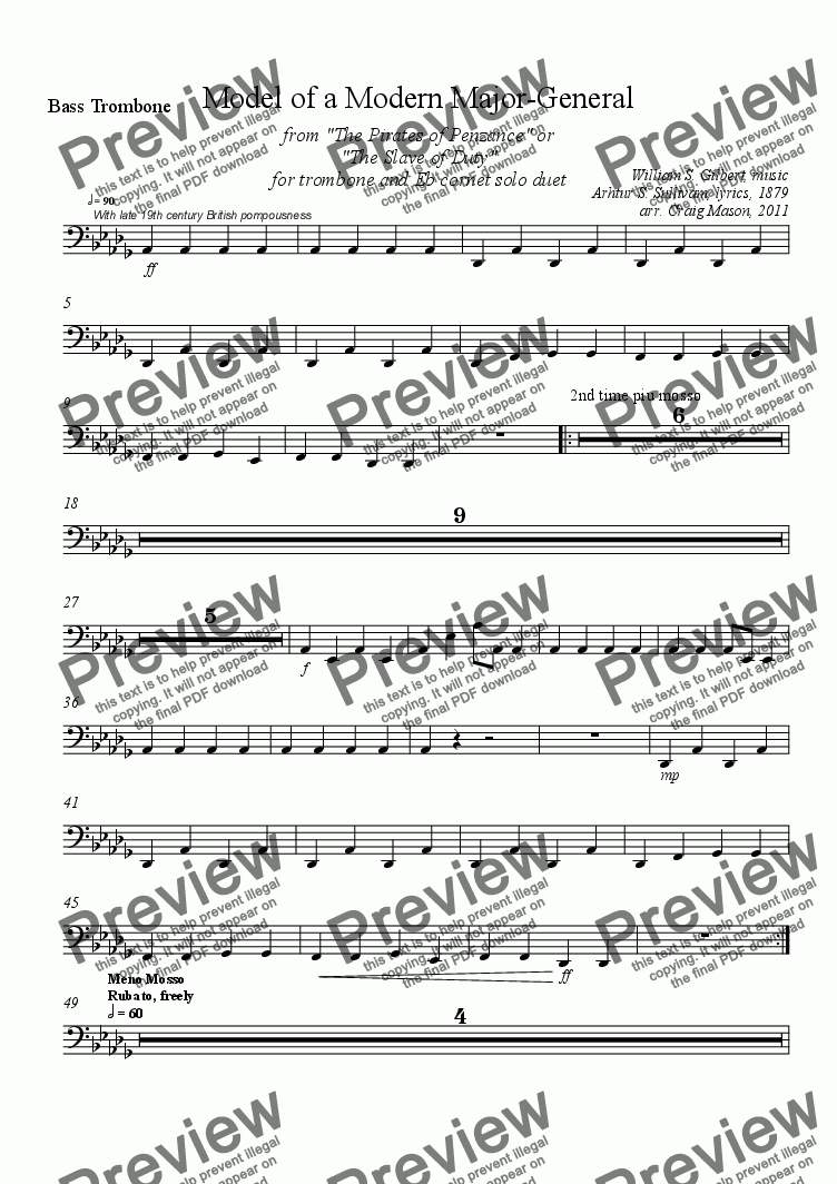 page one of the Bass Trombone part from Model of a Modern Major General for Brass Band