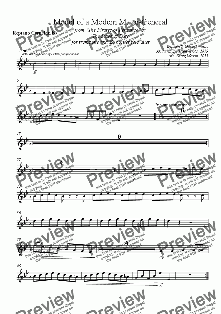 page one of the Repiano Cornet part from Model of a Modern Major General for Brass Band