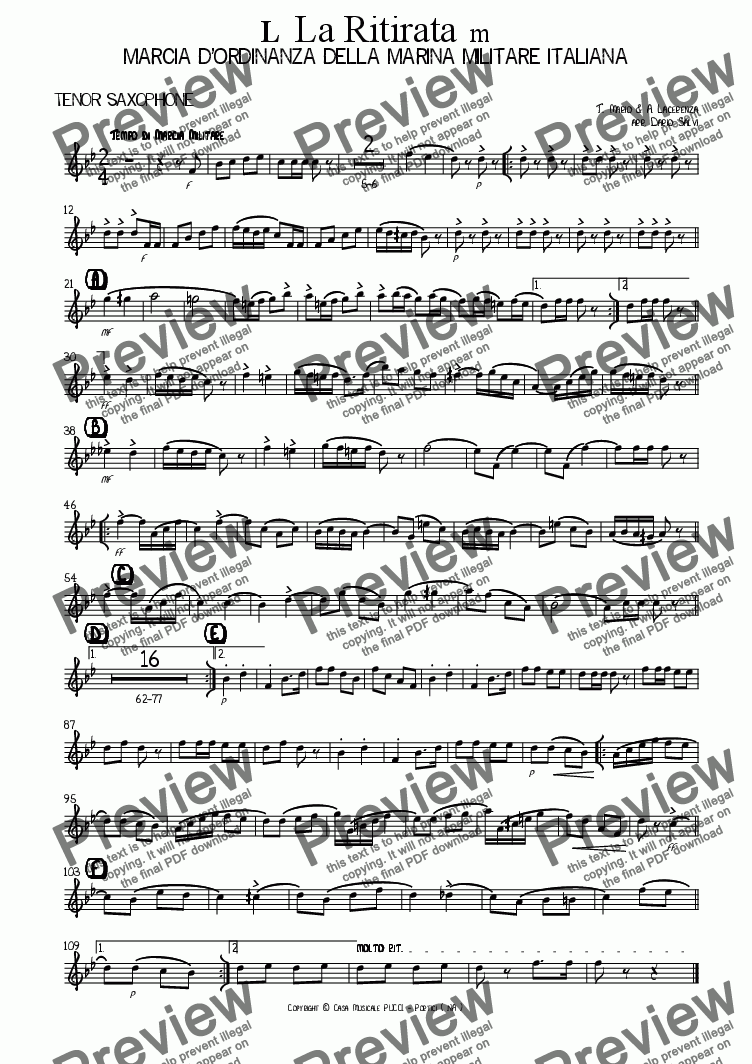 page one of the tenor sax part from La Ritirata - Marina Militare Italiana