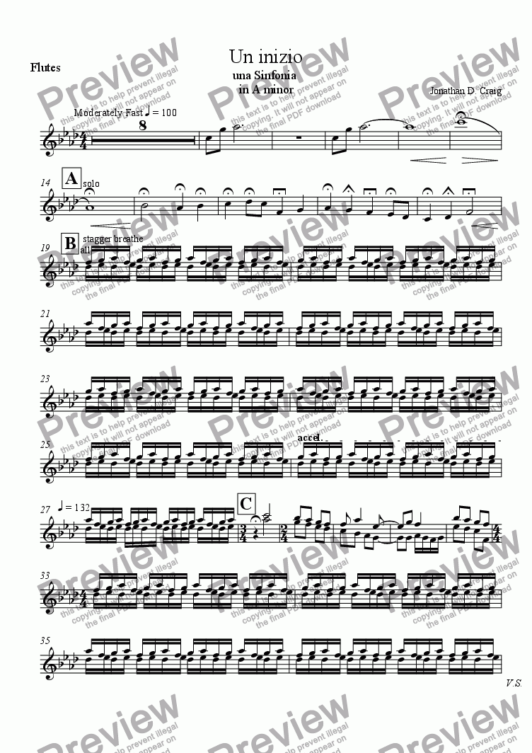 page one of the Flutes part from Un Inizio (A Beginning)