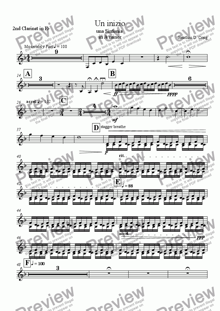 page one of the 2nd Clarinet in Eb part from Un Inizio (A Beginning)