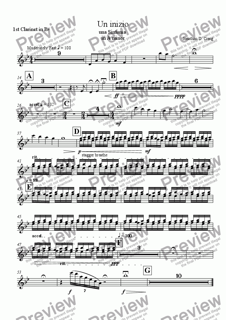 page one of the 1st Clarinet in Bb part from Un Inizio (A Beginning)