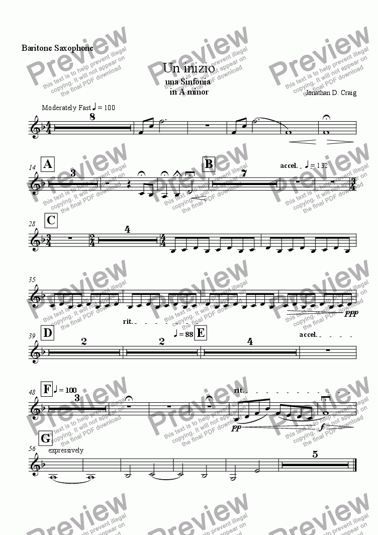 page one of the Baritone Saxophone part from Un Inizio (A Beginning)