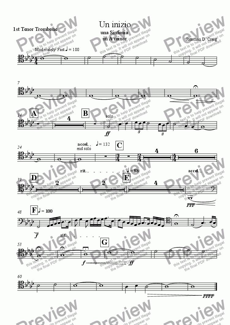 page one of the 1st Tenor Trombone part from Un Inizio (A Beginning)
