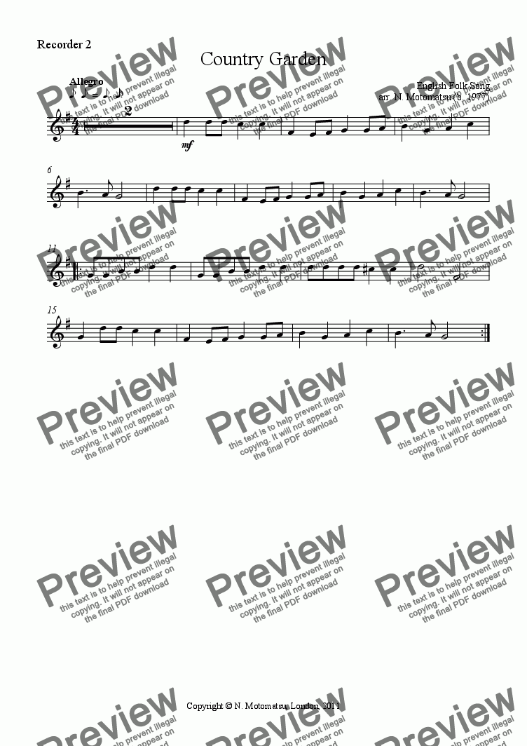 page one of the Recorder 2 part from Country Garden for Recorder ensemble