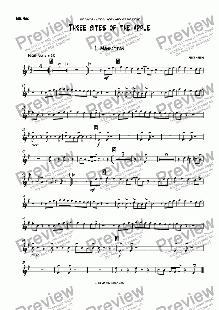 page one of the Baritone part from Three Bites of the Apple