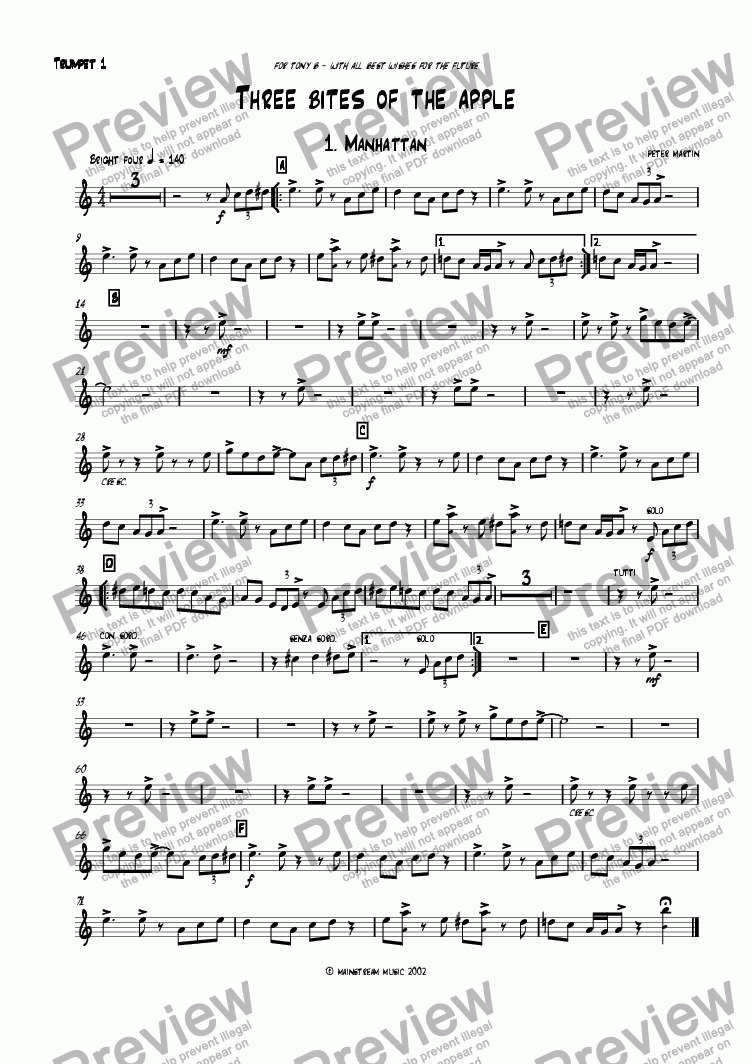 page one of the Trumpet I part from Three Bites of the Apple
