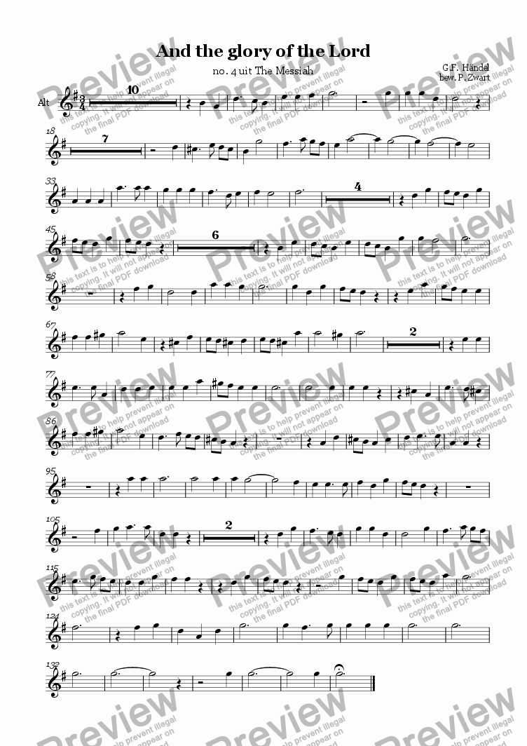 page one of the alt part from And the glory of the Lord (Händel)