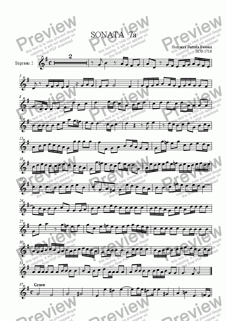 page one of the soprano rec 2 part from Triosonata 7a (Bassani)