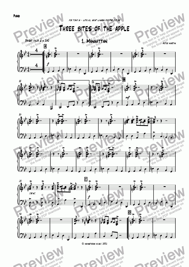 page one of the Piano part from Three Bites of the Apple