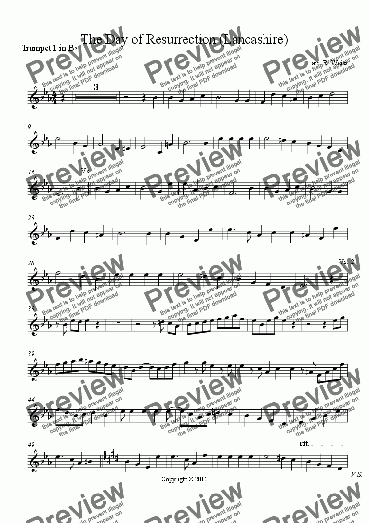 page one of the 1st Trumpet part from The Day of Resurrection (Lancashire)