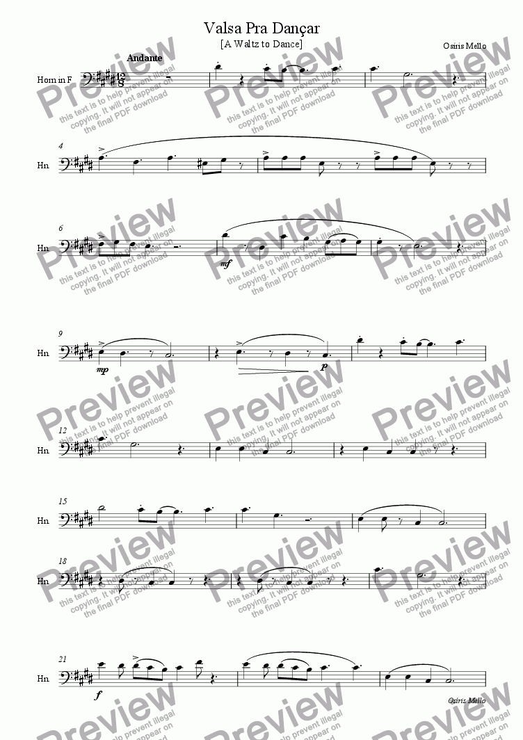 page one of the HORN IN F part from VALSA PRA DAN�AR ( A Waltz to Dance) ORCHESTRA VERSION