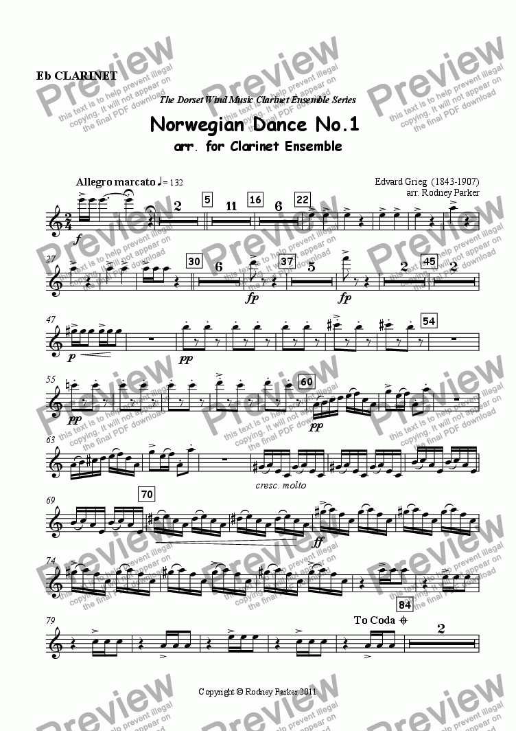 page one of the Eb Clarinet part from Norwegian Dance No.1 arr. for Clarinet Ensemble