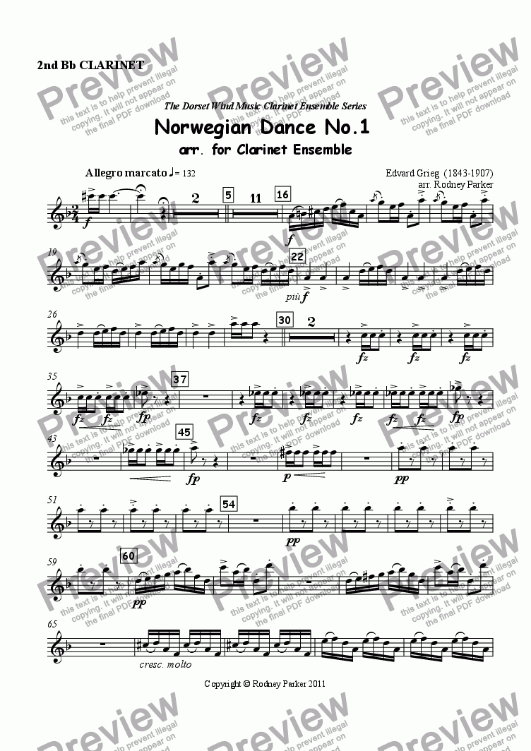 page one of the 2nd Clarinet part from Norwegian Dance No.1 arr. for Clarinet Ensemble