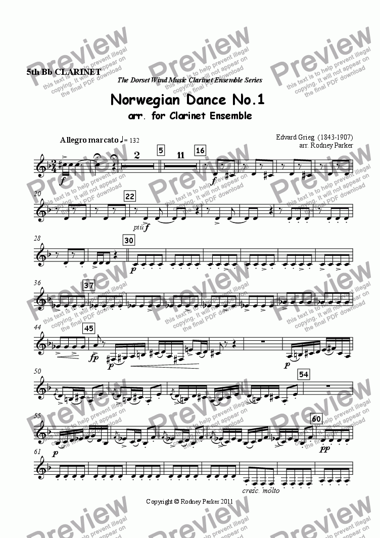 page one of the 5th Clarinet part from Norwegian Dance No.1 arr. for Clarinet Ensemble