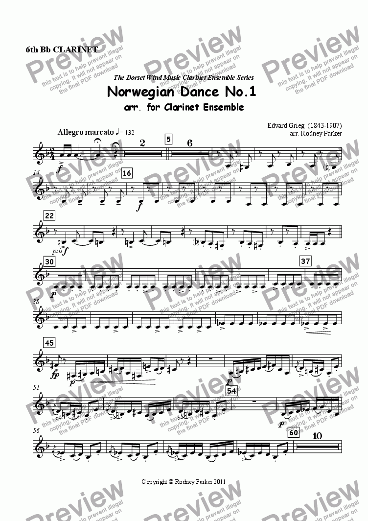 page one of the 6th Clarinet part from Norwegian Dance No.1 arr. for Clarinet Ensemble