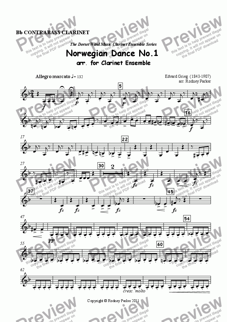 page one of the Contrabass Clarinet part from Norwegian Dance No.1 arr. for Clarinet Ensemble