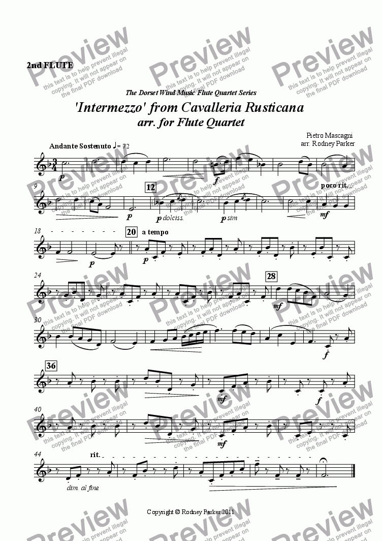 page one of the 2nd Flute part from 'Intermezzo' from Cavalleria Rusticana arr. for Flute Quartet