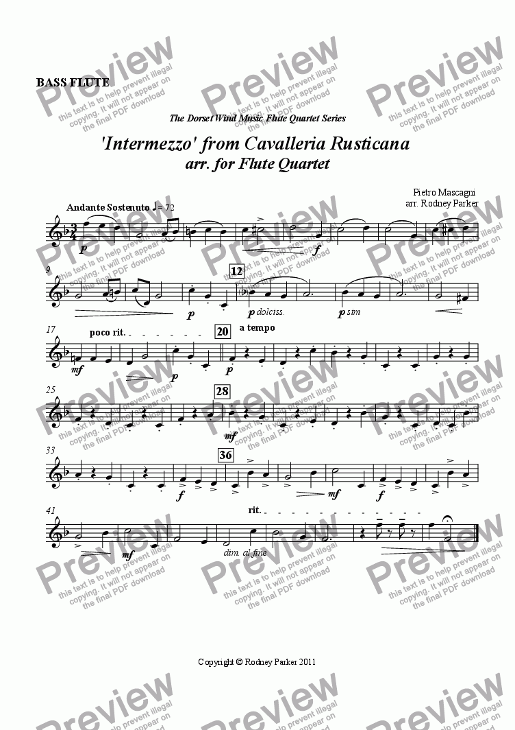 page one of the Bass Flute part from 'Intermezzo' from Cavalleria Rusticana arr. for Flute Quartet