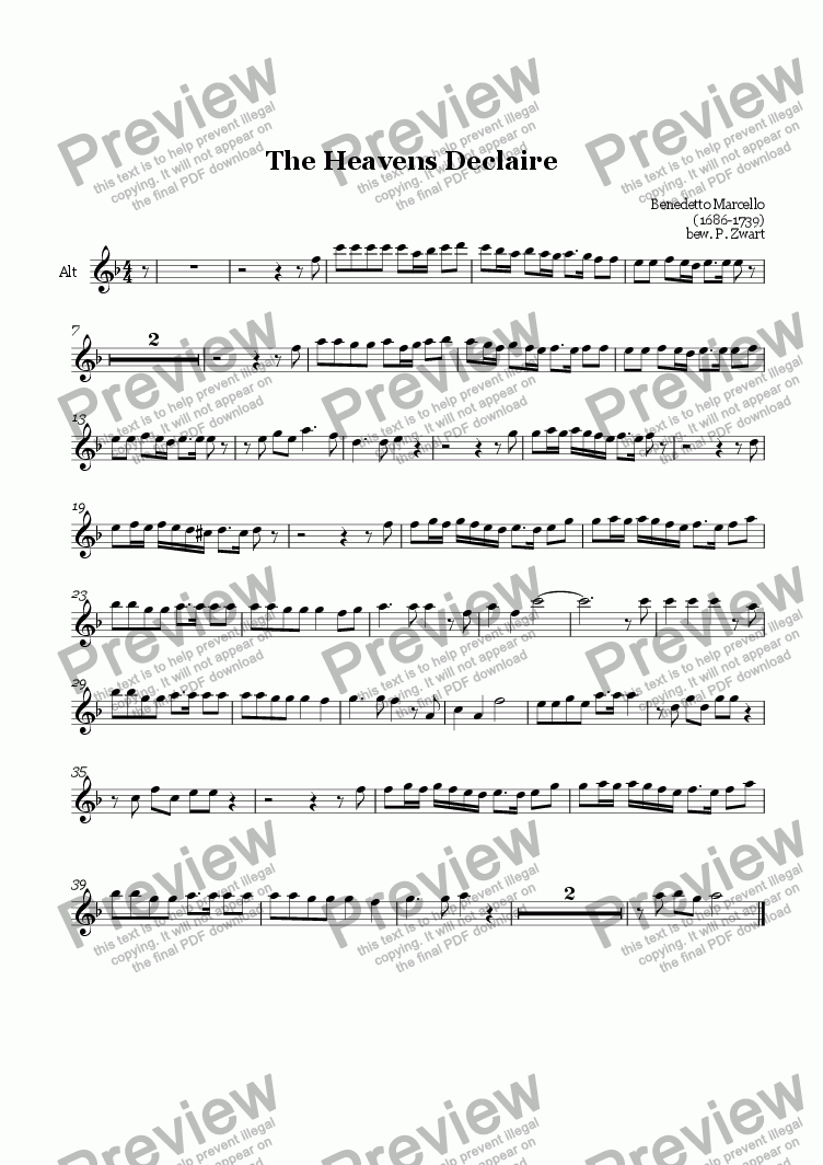 page one of the alto part from The heavens declare (Marcello)