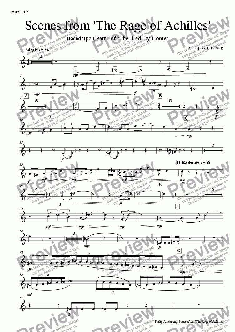 page one of the horn in F part from Scenes from 'The Rage of Achilles'