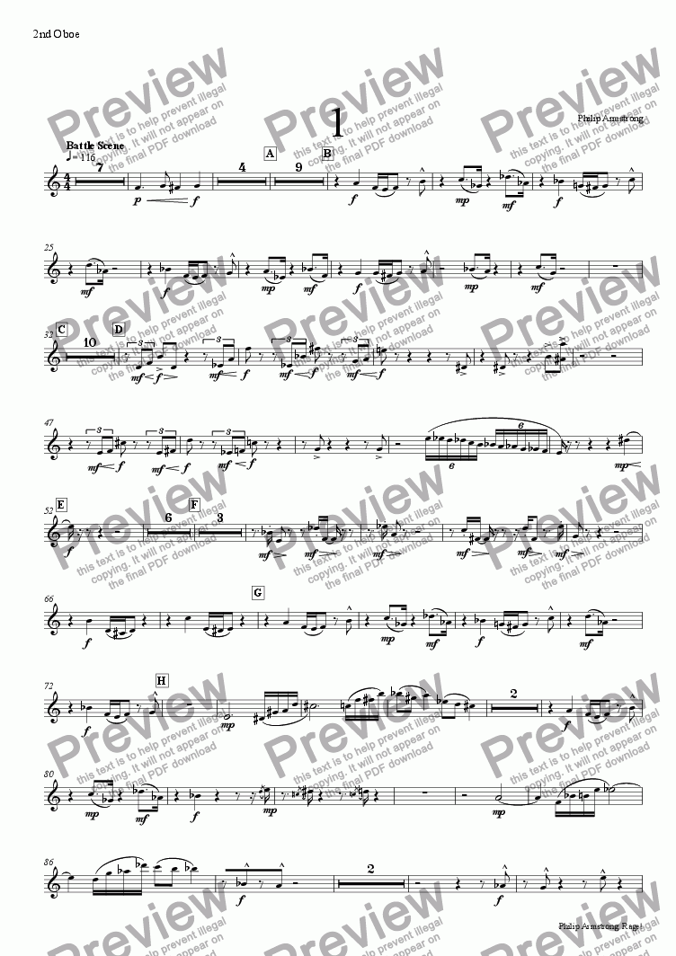 page one of the 2nd oboe part from Rage, Three orchestral interludes from The Rage of Achilles