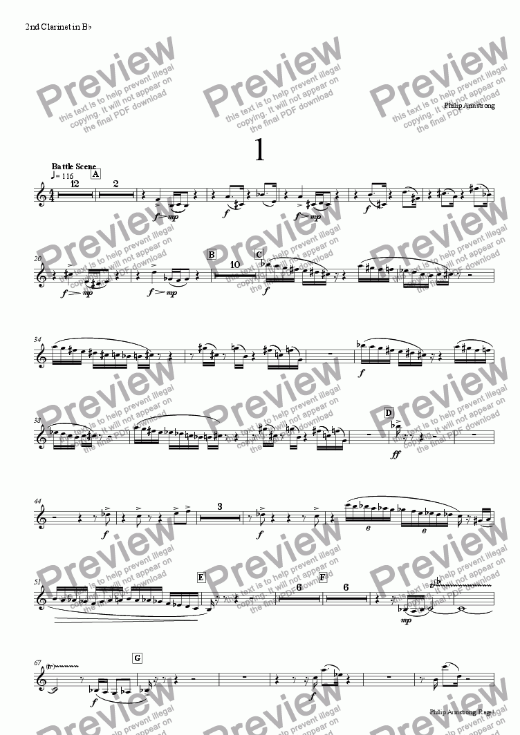 page one of the 2nd clarinet part from Rage, Three orchestral interludes from The Rage of Achilles