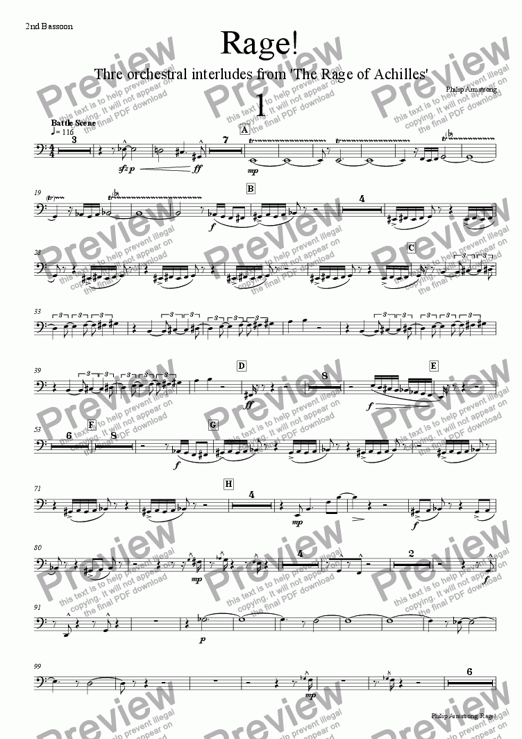 page one of the 2nd bassoon part from Rage, Three orchestral interludes from The Rage of Achilles