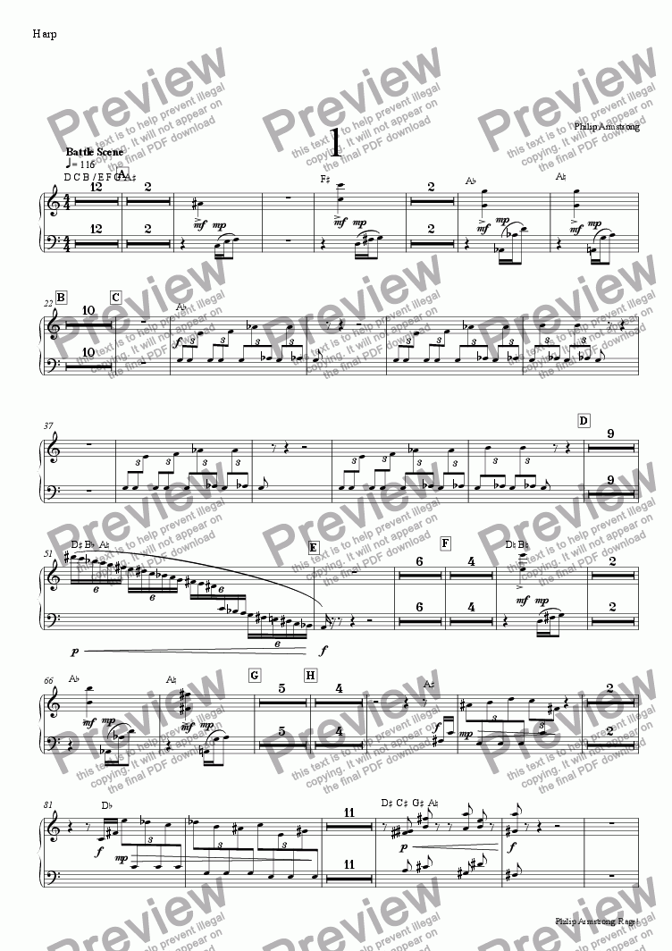 page one of the harp part from Rage, Three orchestral interludes from The Rage of Achilles