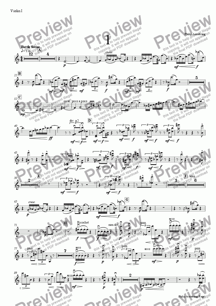page one of the violin I part from Rage, Three orchestral interludes from The Rage of Achilles