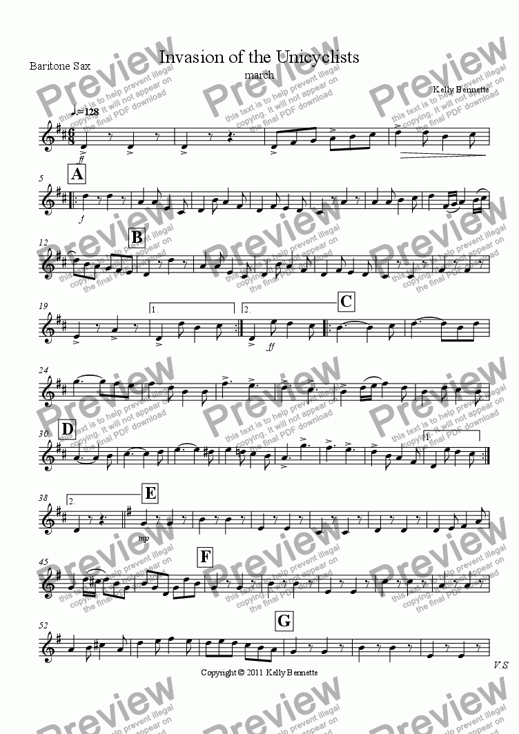 page one of the bari sax part from Invasion of the Unicyclists