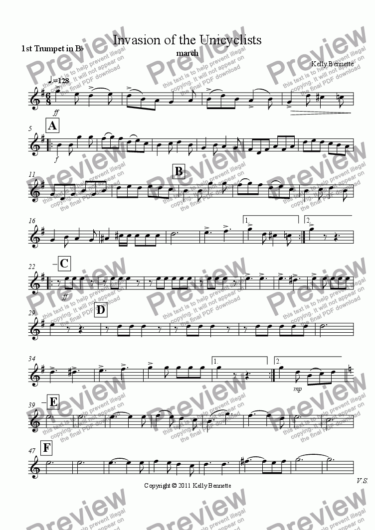 page one of the trumpet 1 part from Invasion of the Unicyclists