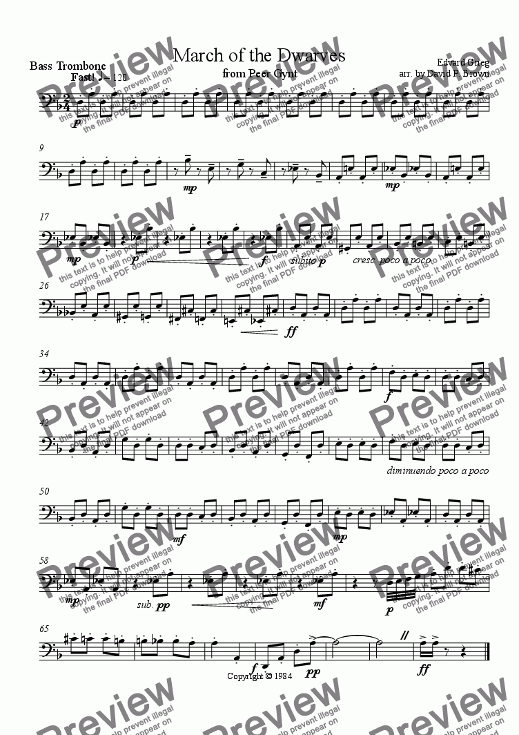 page one of the Bass Trombone part from March of the Dwarves