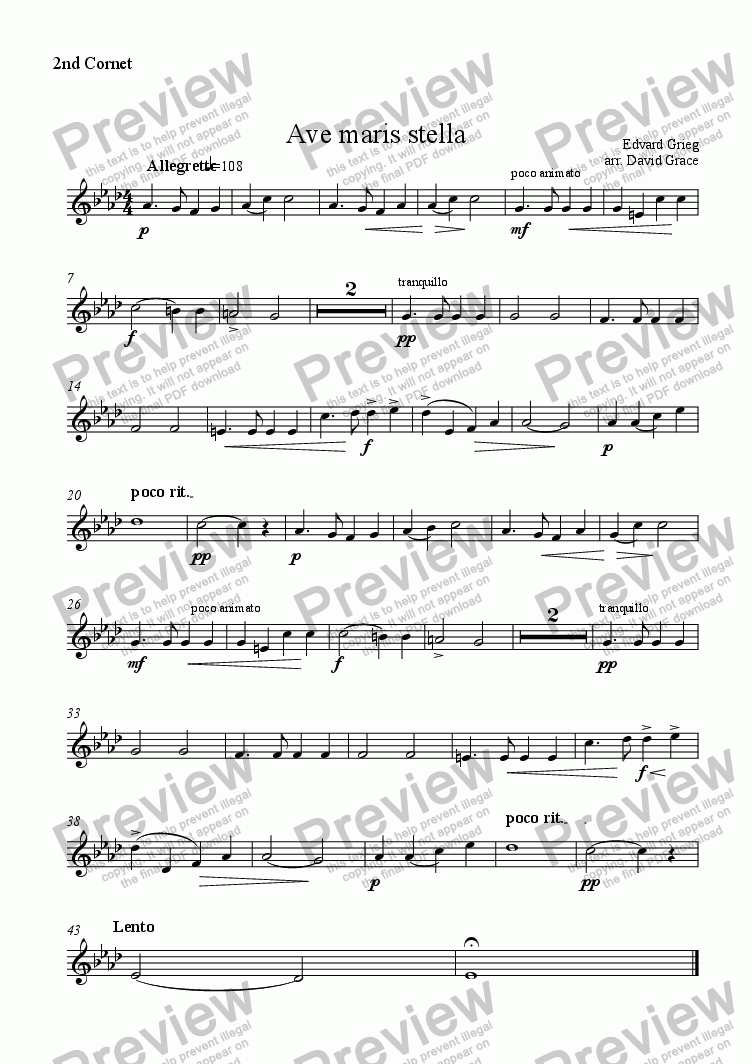 page one of the 2nd Cornet part from Ave Maris Stella [Grieg]