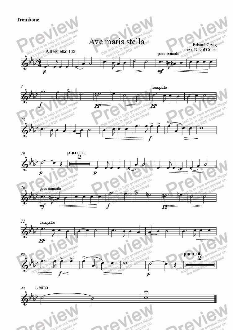 page one of the Trombone part from Ave Maris Stella [Grieg]